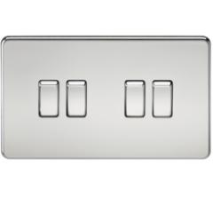 MLS CP0014FS Screwless 10A 4G 2 Way Switch Polished Chrome
