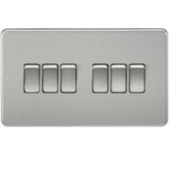 MLS CB0024FS Screwless 10A 6G 2 Way Switch Brushed Chrome