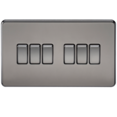 MLS NB0024FS Screwless 10A 6G 2 Way Switch Black Nickel