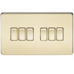 MLS BP0024FS Screwless 10A 6G 2 Way Switch Polished Brass