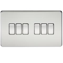 MLS CP0024FS Screwless 10A 6G 2 Way Switch Polished Chrome