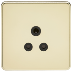 MLS BPA5FS Screwless 5A Unswitched Socket Polished Brass With Black Insert