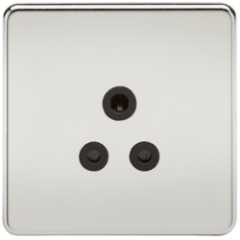 Screwless 5A Unswitched Socket Polished Chrome With Black Insert