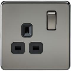 MLS NB0007FS Screwless 13A 1G Dp Switched Socket Black Nickel
