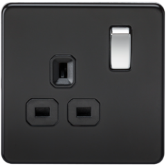 Screwless 13A 1G Dp Switched Socket Matt Black W/Chrome Rocker