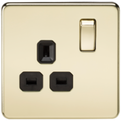 MLS BP0007FS Screwless 13A 1G Dp Switched Socket Polished Brass