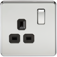 Screwless 13A 1G Dp Switched Socket Polished Chrome