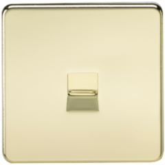 MLS BP0047FS Screwless Telephone Extension Socket Polished Brass