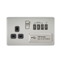 MLS CB4BSU7FS Screwless 1G 13A Switched Socket With Quad Usb Charger 5V Dc 5.1A Brushed Chrome With Black Insert