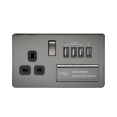MLS NB4BSU7FS Screwless 1G 13A Switched Socket With Quad Usb Charger 5V Dc 5.1A Black Nickel With Black Insert