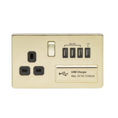 MLS BP4BSU7FS Screwless 1G 13A Switched Socket With Quad Usb Charger 5V Dc 5.1A Polished Brass With Black Insert