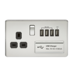 MLS CP4BSU7FS Screwless 1G 13A Switched Socket With Quad Usb Charger 5V Dc 5.1A Polished Chrome W/Black Insert