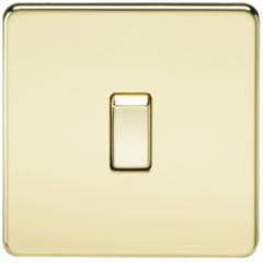 MLS BP1438FS Screwless 20A 1G Dp Switch Polished Brass