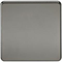MLS NB0538FS Screwless 1G Blanking Plate Black Nickel