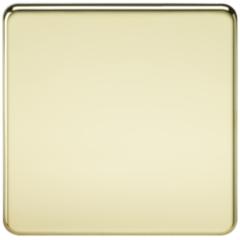 MLS BP0538FS Screwless 1G Blanking Plate Polished Brass