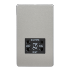 MLS CB0098FS Screwless 115V/230V Dual Voltage Shaver Socket Brushed Chrome