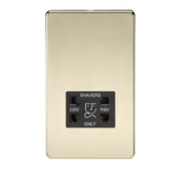 MLS BP0098FS Screwless 115V/230V Dual Voltage Shaver Socket Polished Brass