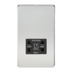 MLS CP0098FS Screwless 115V/230V Dual Voltage Shaver Socket Polished Chrome
