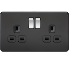 Screwless 13A 2G Dp Switched Socket Matt Black W/Chrome Rocker