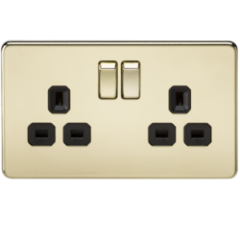 MLS BP0009FS Screwless 13A 2G Dp Switched Socket Polished Brass With Black Insert