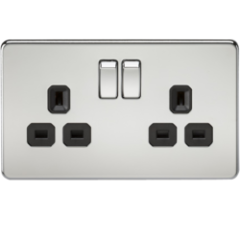 Screwless 13A 2G Dp Switched Socket Polished Chrome With Black Insert