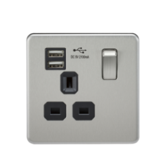 MLS CB1099FS Screwless 13A 1G Switched Socket With Dual Usb Charger Brushed Chrome With Black Insert