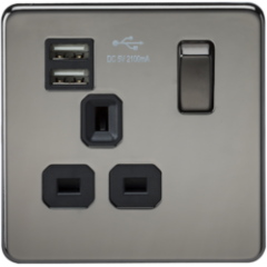 MLS NB1099FS Screwless 13A 1G Switched Socket With Dual Usb Charger Black Nickel With Black Insert