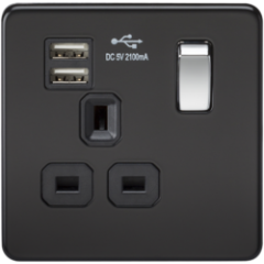 Screwless 1G 13A Switched Socket With Quad Usb Charger 5V Dc 5.1A Matt Black With Chrome Rocker