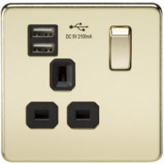 MLS BP1099FS Screwless 13A 1G Switched Socket With Dual Usb Charger Polished Brass With Black Insert