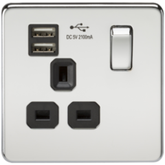 Screwless 13A 1G Switched Socket With Dual Usb Charger Polished Chrome With Black Insert