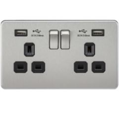MLS CB2099FS Screwless 13A 2G Switched Socket With Dual Usb Charger Brushed Chrome With Black Insert