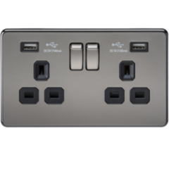MLS NB2099FS Screwless 13A 2G Switched Socket With Dual Usb Charger Black Nickel With Black Insert
