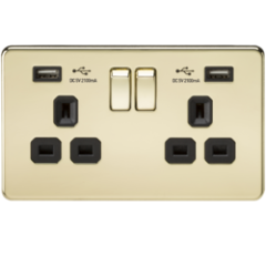 MLS BP2099FS Screwless 13A 2G Switched Socket With Dual Usb Charger Polished Brass With Black Insert