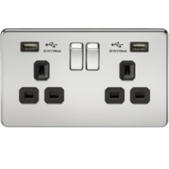 Screwless 13A 2G Switched Socket With Dual Usb Charger Polished Chrome With Black Insert