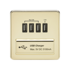 MLS BPDAUQFS Screwless 1G Quad Usb Charger Outlet 5V Dc 5.1A Polished Brass With Black Insert