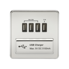 Screwless 1G Quad Usb Charger Outlet 5V Dc 5.1A Polished Chrome With Black Insert