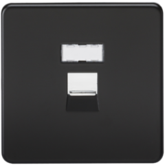 Screwless Rj45 Network Outlet Matt Black W/Chrome Shutter