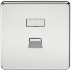 Screwless Rj45 Network Outlet Polished Chrome