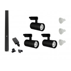 MLS 800169 Shooter x 3 Track Kit Black (1m Track Kit) Dimmable