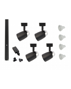 MLS800180 Chrome Dome x 4 Track Lighting Kit Black Dimmable (2m Track Kit)
