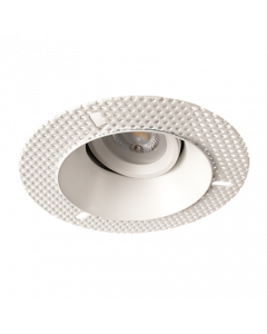 Fire Rated Plaster-in Adjustable Concave Downlight, dimmable, requires GU10 lamp