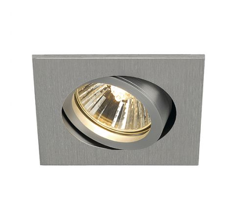 SLV 113476 New Tria 68 Adjustable Downlight Square Alu Brushed, dimmable, requires GU10 lamp