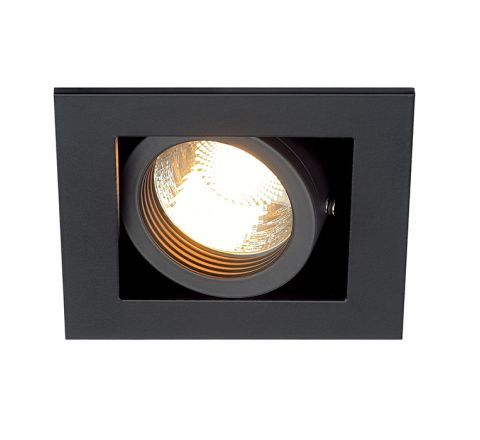 SLV 115510 Kadux 1 Square Adjustable Matt Black, dimmable, requires GU10 lamp