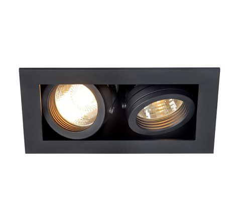 SLV 115520 Kadux 2 Square Adjustable Matt Black, dimmable, requires GU10 lamps