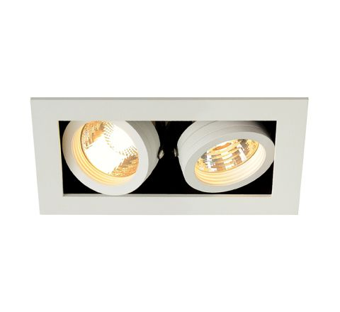 SLV 115521 Kadux 2 GU10 Square Adjustable Matt White 2 x 50W