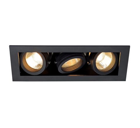 SLV 115530 Kadux 3 Square Adjustable Matt Black, dimmable, requires GU10 lamps