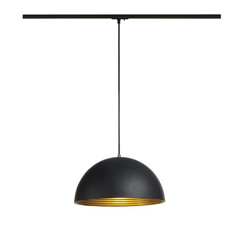 SLV 143932 Forchini 40cm Track pendant, Black/Gold, Black Adapter, Dimmable, Requires E27 LED