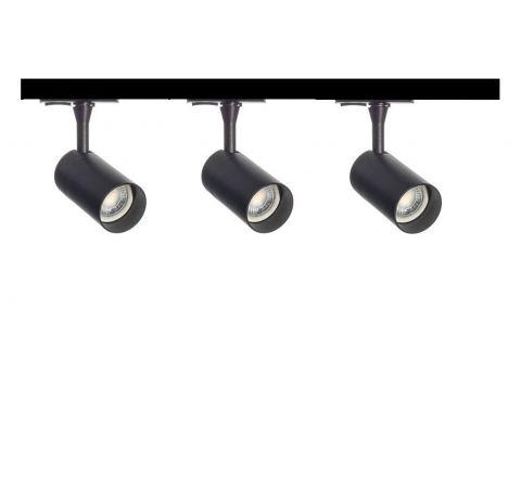 MLS 800141 Barrel x 3 Track Lighting Kit Black (1m Track Kit) Dimmable