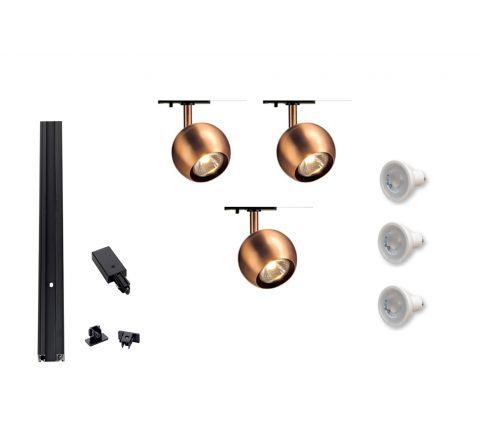 MLS 800104 Single Eye 1 Copper x 3 Track Kit Black (1m Track Kit) Dimmable
