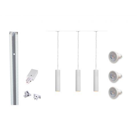 MLS 800107 Enola White x 3 (2M Track Kit) Dimmable White
